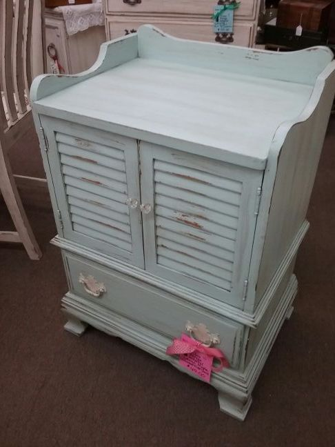 Sold This Is A Vintage Maple Cabinet With Louvered Double Doors And Single Drawer
