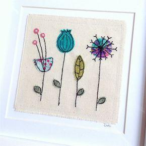 Botanische gerahmte Wandkunst. Personalisierte Maschine genäht Stoff Applikation Stickerei. Bild Geburtstagsgeschenk. Samen Köpfe Textilkunst