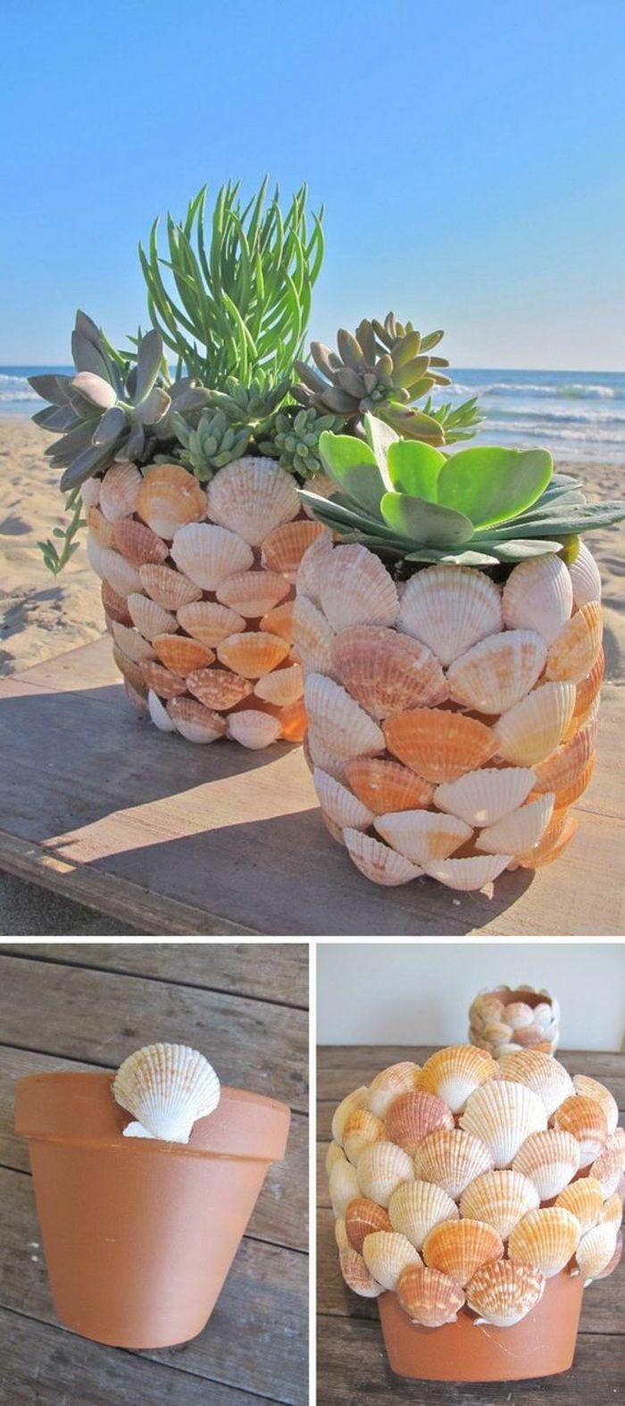 coole bastelideen maritime deko, blumentöpfe mit muscheln verzieren, pflanzen, meer