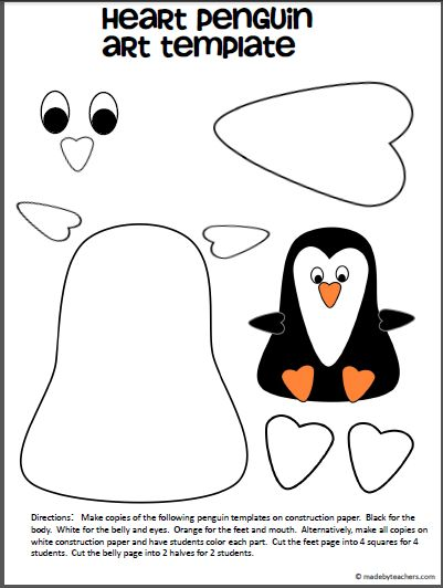Free printable for creating a penguin using heart shapes. Great for Valentine's day or any penguin unit.