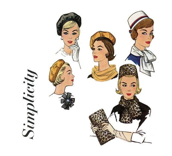 Hats and Bag Pattern Simplicity 4178 Misses 1960s by CynicalGirl, $28.00