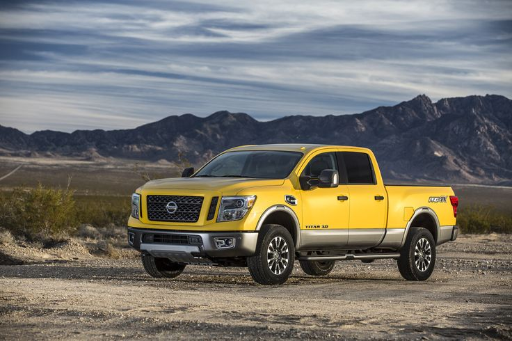 The 2016 Nissan TITAN XD PRO-4X, on display at..under the hood features the all-new Cummins turbodiesel 5.0 liter V8 engine, giving the 2016 Nissan TITAN XD