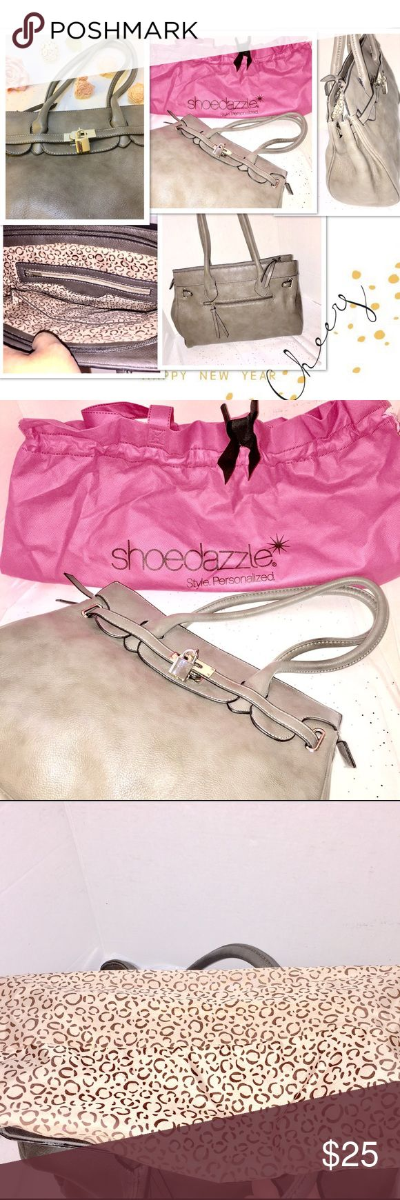 Shoedazzle 🌷 Grey Silver Lock Tote Bag Clean, beautiful Shoedazzle 🌷 Grey Silver  Lock Tote, clean Condition, cones with pink Purse storage bag, used a few times. Shoedazzle Bags Totes