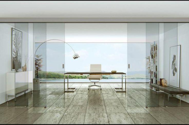 Puerta corredera transparente de vidrio, efecto transparente