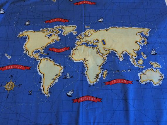 The 25 best map fabric ideas on pinterest travel theme nursery out to sea blueworld map fabricby the by morelovemama on etsy world map fabricscotty sciox Gallery