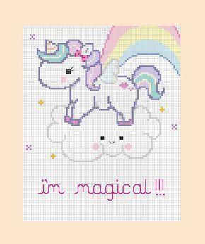 PDF patrones - mágico unicornio cruz puntada