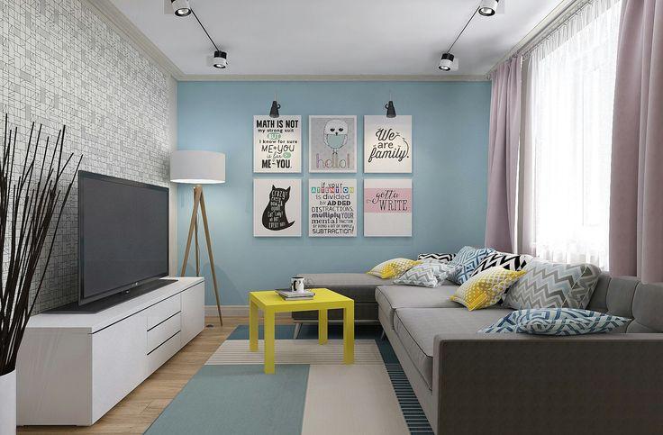 Однокомнатная квартира под сдачу в скандинавском стиле. Стены светлых тонов: голубой, молочный, черно-белые обои. Пудровые занавески, серый диван. Желтые акценты. Мебель Икеа