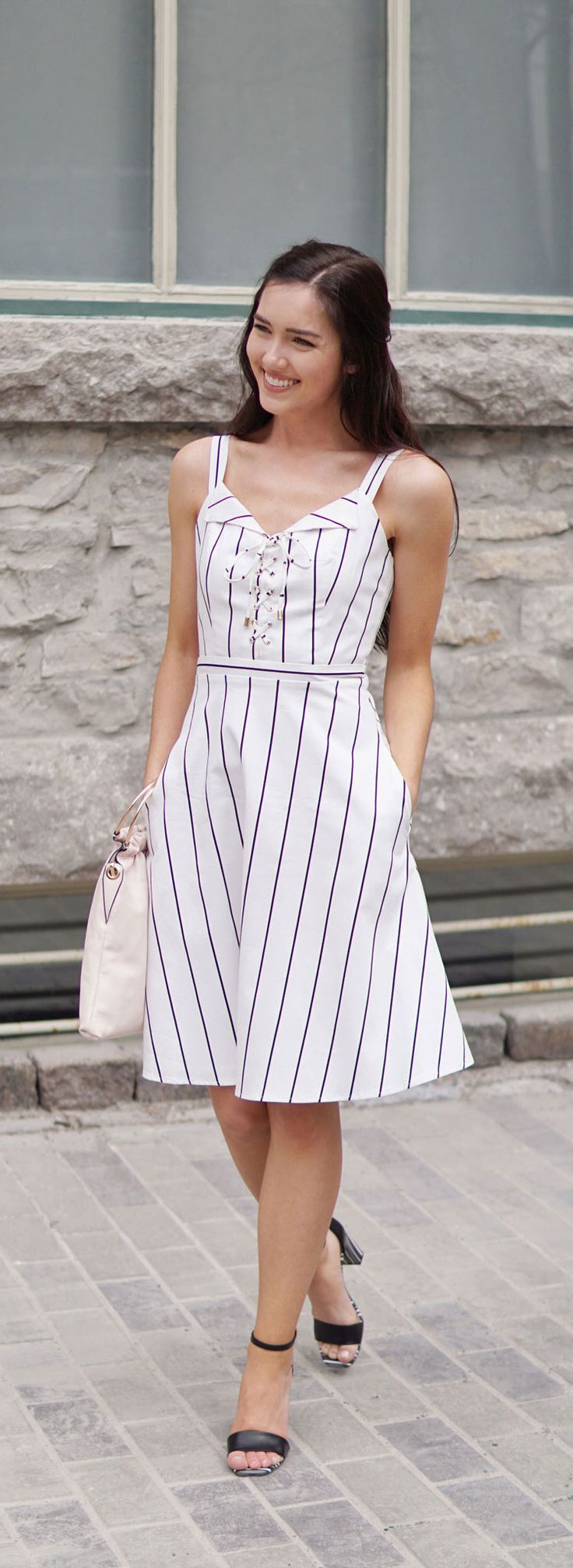 STRIPES ON STRIPES HEAVEN!! This stripe midi dress is perfection for any wedding or event or even just running errands, I can't get enough of it!! And paired with extra stripes on the sandals: fashionable AND comfortable! Le Chateau does it best! ALL DETAILS WHEN YOU CLICK ON THE PHOTO! #fashion #outfit #style #springoutfit #fashionblog #stripes by Marie's Bazaar