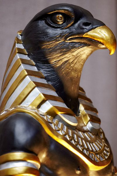 King Tut's tomb - Horus, son of the Goddess Isis, conceived by penetrating herself with her husband/brother's penis after he was murdered by their brother Set, and his body parts scattered. Called the Savior God of Egypt, for restoring his father to life. Often depicted as a falcon. The Eye of Horus watches over mankind.