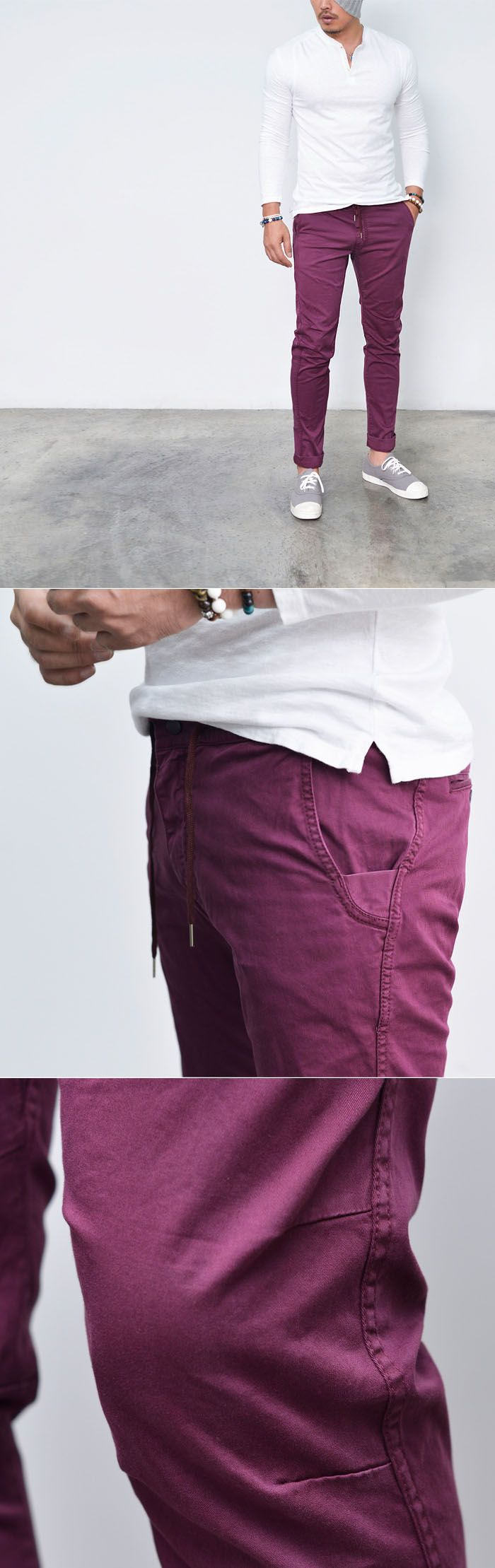 Bottoms :: Pigment Wash Slim Drawcord Slacks-Pants 194 - Mens Fashion Clothing For An Attractive Guy Look