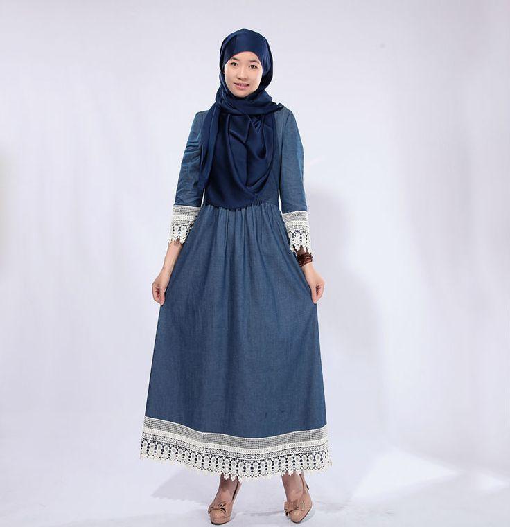 Elegant Spanish Mutli Embroidery Denim Kaftan Abaya Dress Islamic Clothing Modest Woman For Sale US $79.70