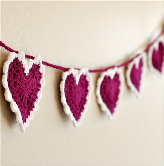 valentine heart wool garland idea