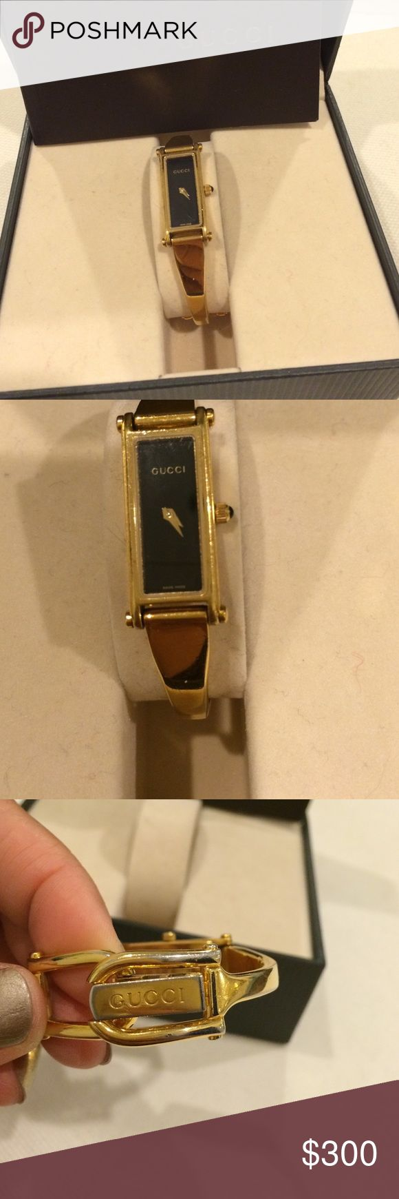 Gold Gucci Watch In great conditon and battery is new.Its for small wrist women.Its very nice.I love this a lot but I am gaining weight..Reasonable offers only... Gucci Accessories Watches