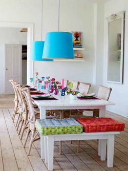 #white dining room with pops of color. Via the book, Decorate.: Shades, Pendants, Benches, Beautiful Spaces, Blue, Design Ideas, Color, Dinners Rooms, Dining Rooms Tables