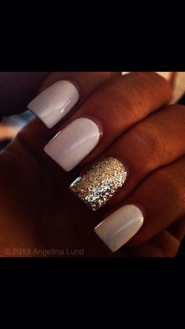 Nude and gold sparkle accent nail