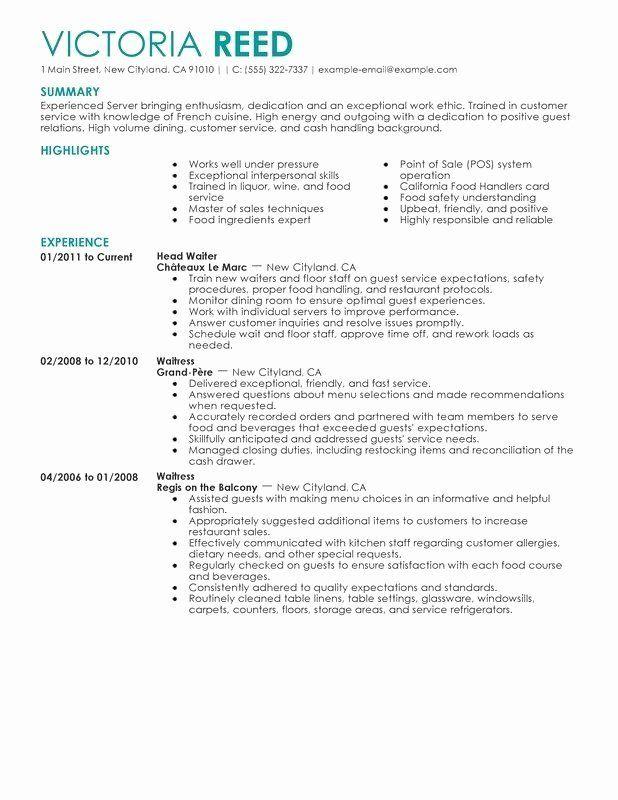 Servers Job Description For Resume Best Of Servers Job Description For Resume In 2020 Sales Resume Examples Job Resume Samples Server Resume