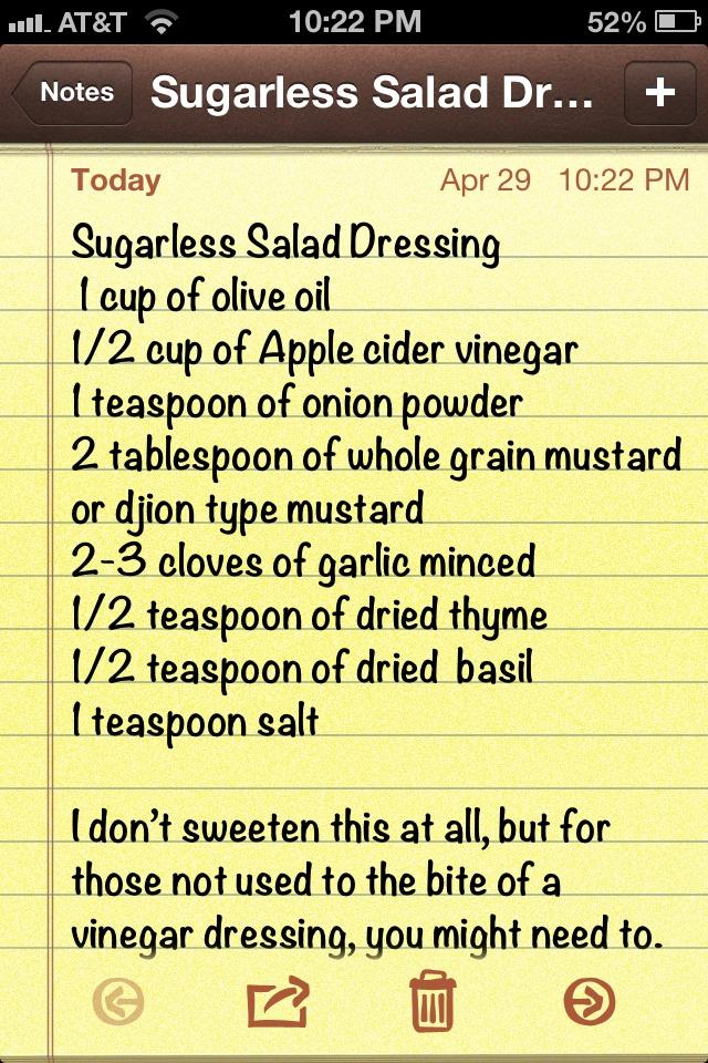 Sugarless Salad Dressing