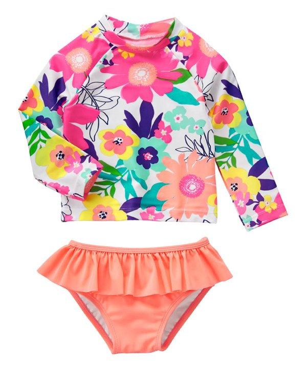 Look at this Gymboree White & Coral Floral Rashguard Set - Infant & Toddler on #zulily today!