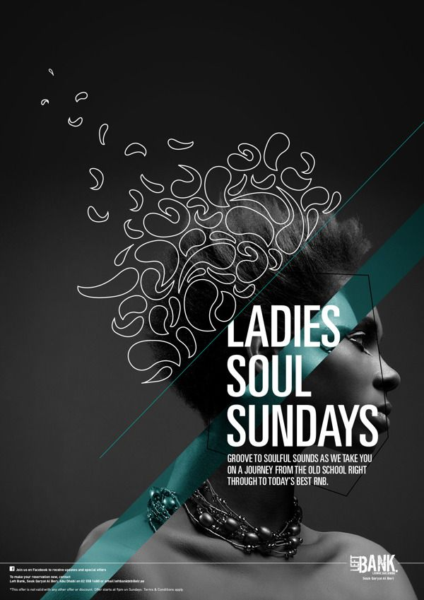 Mahya Soltani – Soul Sundays at Left Bank, music posters, via Behance