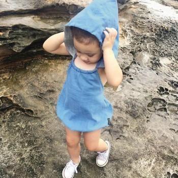 Baby Girl's Denim Hooded Bubble Bodysuit