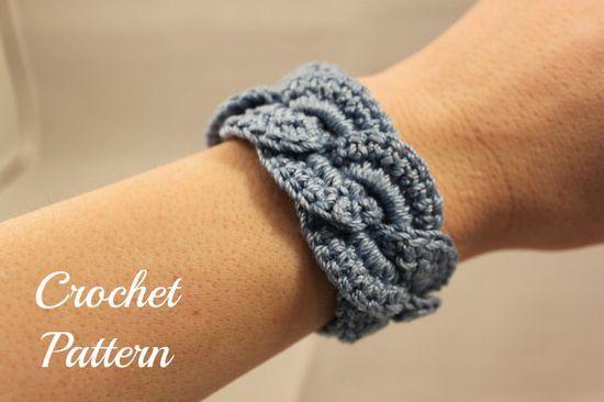 Crochet PATTERN PDF Crochet Bracelet Infinity Link Cuff, Crochet Bracelet, Crochet Cuff Pattern, Crochet Jewelry