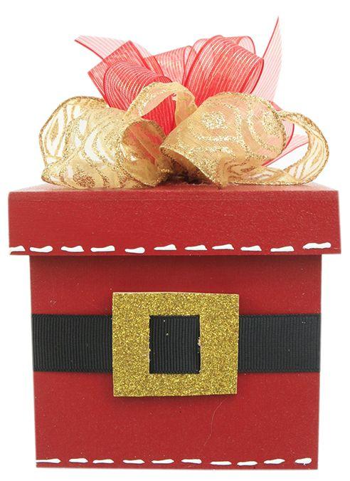 Caja de Madera Santa Claus / Roja / Navidad 2014 / Adorno / Decoración