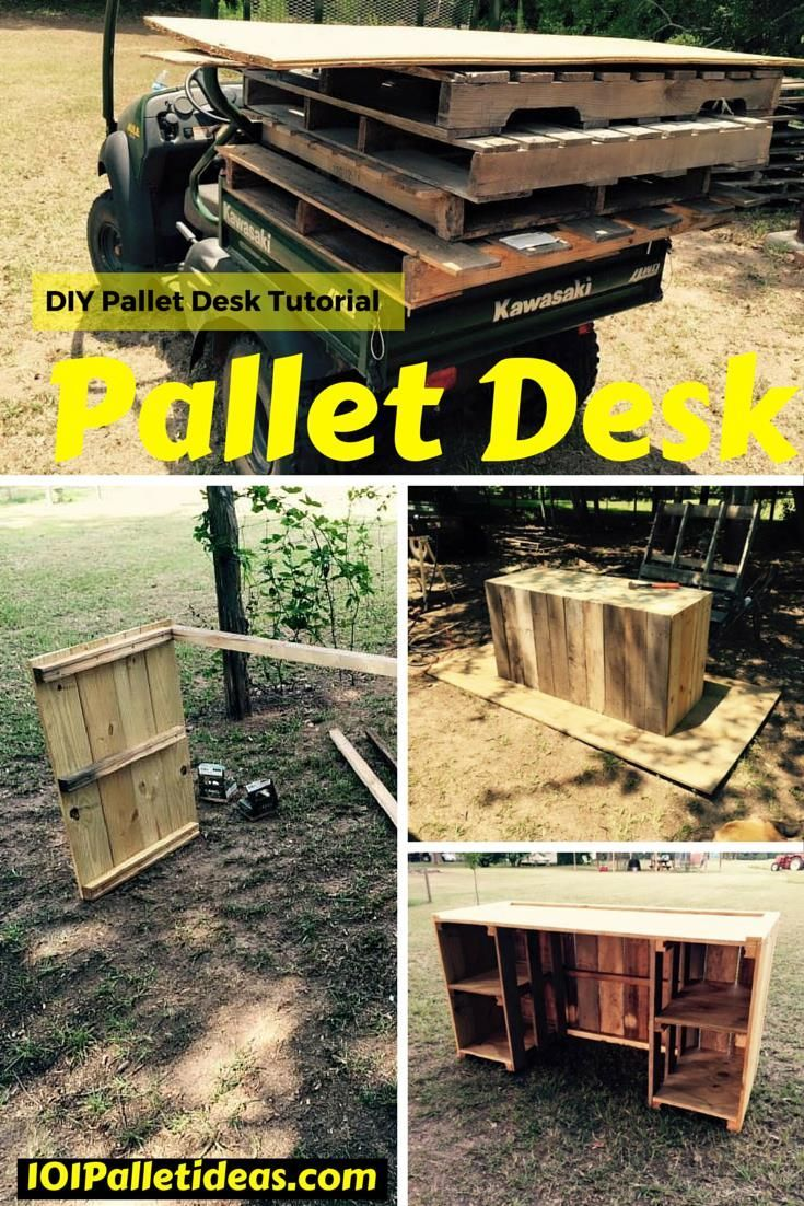 Diy comfortable pallet adirondack chair 101 pallets - Diy Pallet Desk Tutorial 101 Pallet Ideas