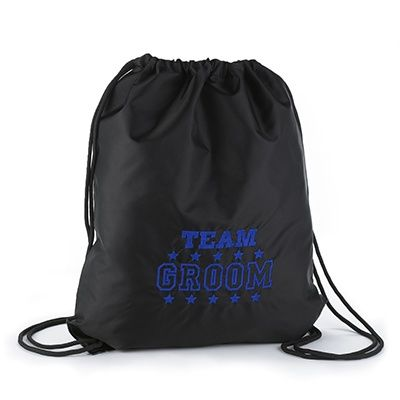 """Team Groom - Cinch Bag - Black Support """"Team Groom"""" with this black nylon bag featuring the design embroidered in blue, a cinch closure, black draw strings, and reinforced bottom grommets."""