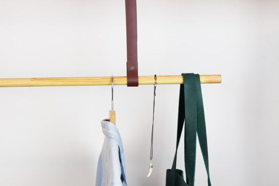 Leather strap clothes rail, clothes rail, scandinavian clothes rail, leather strap hanger, minimalist clothes rail, leather accents
