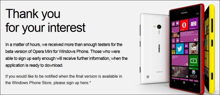 'Opera Mini' beta testing signups for Windows Phone go