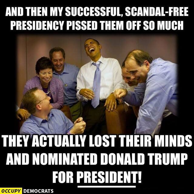 A meme about Republicans losing their minds and nominating Donald Trump for president.
