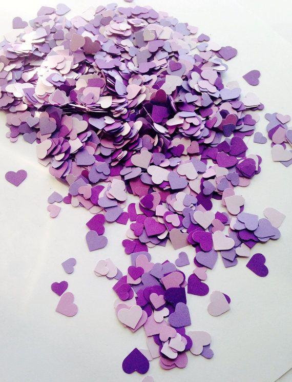 2,000 Purple Mini Heart Confetti - Purple Wedding Decor - Party Decor, Baby/ Bridal Shower, All Occasion Purple Confetti
