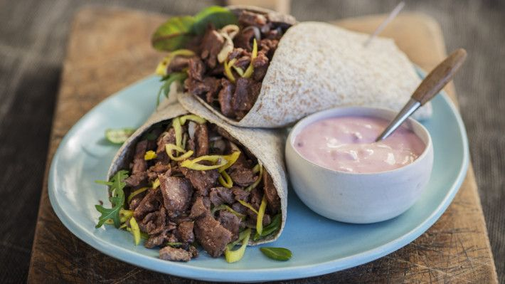 Reindeer wraps with lingonberry soured cream