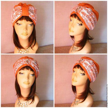 Шляпы ручной работы. Ярмарка Мастеров - ручная работа. Купить Чалма льняная. Handmade. Рыжий, чалма белая, оранжевый