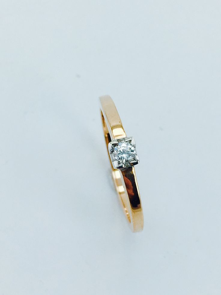 Rose Gold Ring with Diamond 0,13ct Si/G