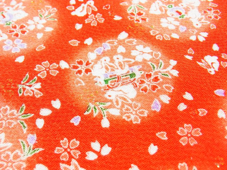 Luck bunnies in red,Japanese kimono fabric chirimen Gold Metallic Glitters by chirimenbunny on Etsy