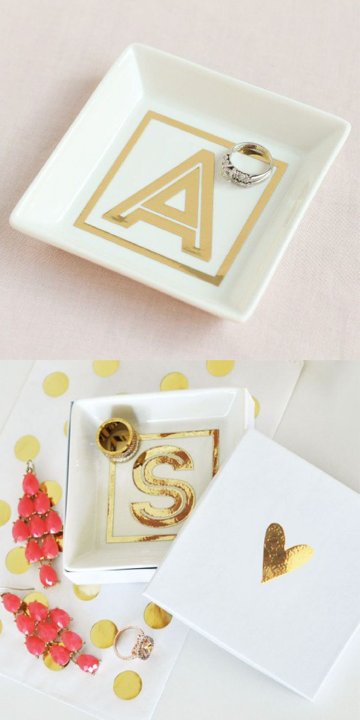 This pretty monogram ring dish makes the perfect gift for bridesmaids or even the bride-to-be. Each ring dish can be personalized with a vinyl, metallic gold monogram decal, making this gift all the more special. Great for holding small jewelry and other small trinkets.