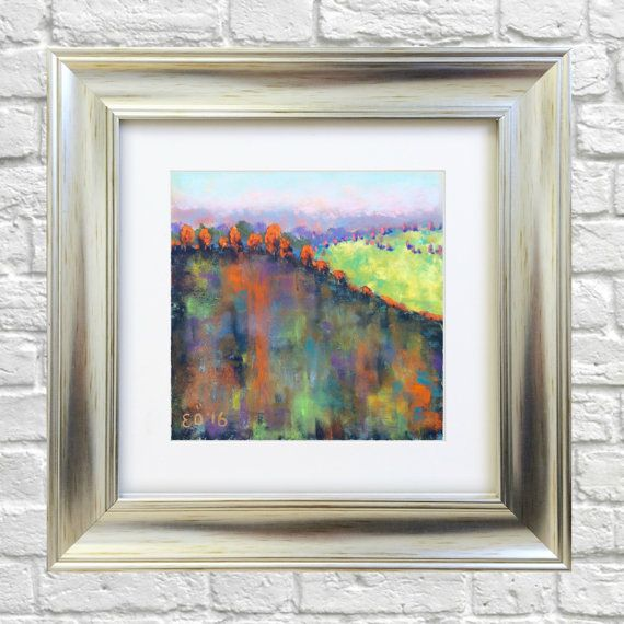 Original Pastel Painting Abstract Autumn by Bluishpurpletrees