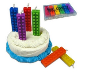 Blockz Birthday Candles  We'll probably never grow out of LEGOS, even long after we stopped putting candles on the cake for every year. So if you're like us you'll wish you still had your old Legos when you blow out Blokz Birthday Candles.