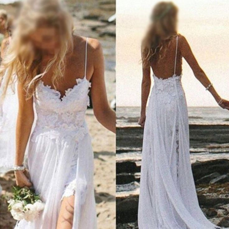 Simple Spaghetti White Lace Side Slit Wedding Dresses For Beach Wedding, WD0047
