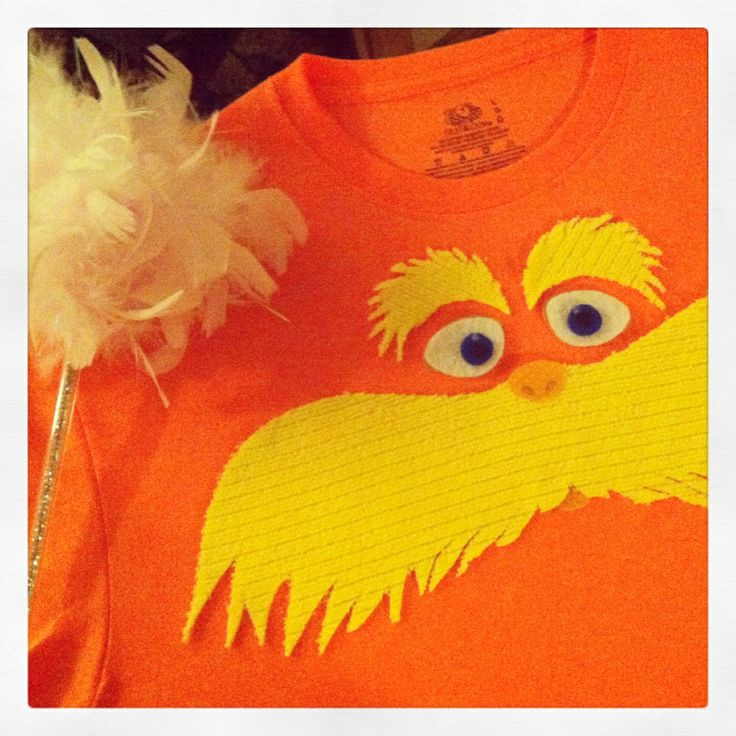 Homemade Lorax t~shirt. Made from felt & fabric pieces. Cut to shape. Glued with no sew iron on tape & fabric adhesive. Perfect for Dr. Suess's Birthday/ character day!