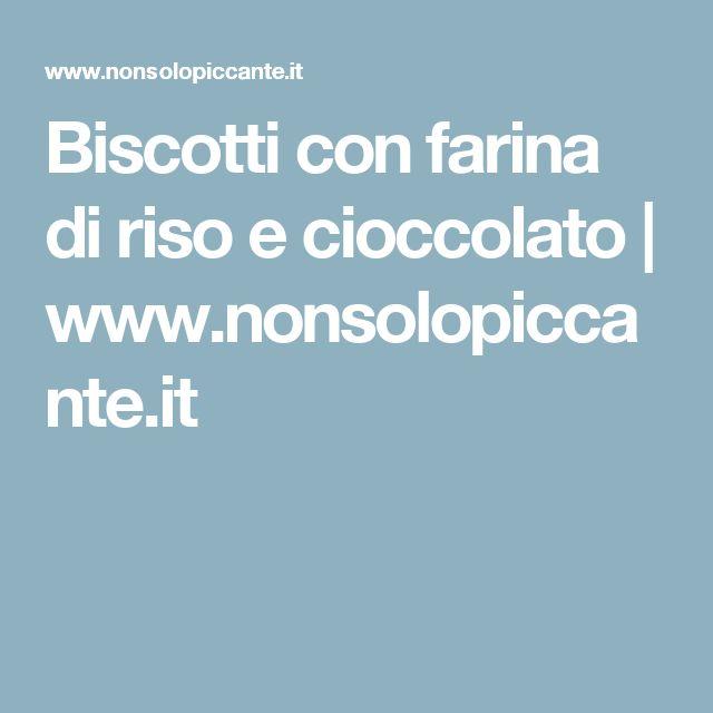 Biscotti con farina di riso e cioccolato   www.nonsolopiccante.it