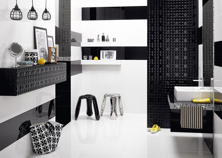 Black & white is always a good idea. Glazed ceramic tiles Opp! 90x30 cm with Black Diamond decoration.