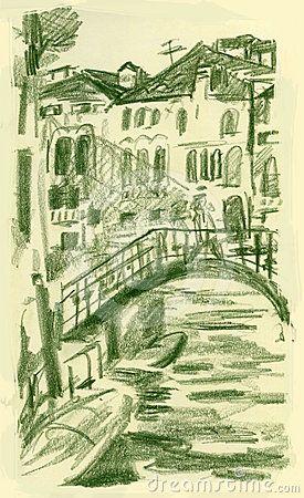 Hand drawn picture of bridge near San Stae,Venice