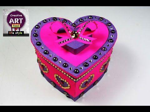 how to make heart shaped box DIY   gift box  storage box  Art with creativity - YouTube