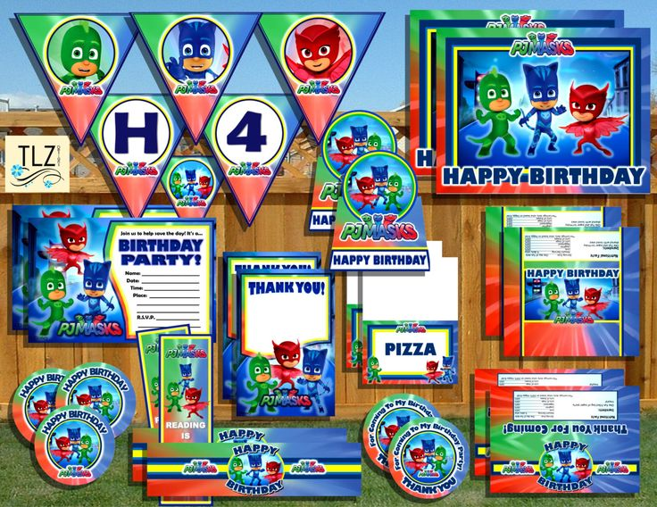 PJ Masks Birthday Package - Printable Digital Instant Download Files by TLZDesigns on Etsy https://www.etsy.com/listing/255201313/pj-masks-birthday-package-printable