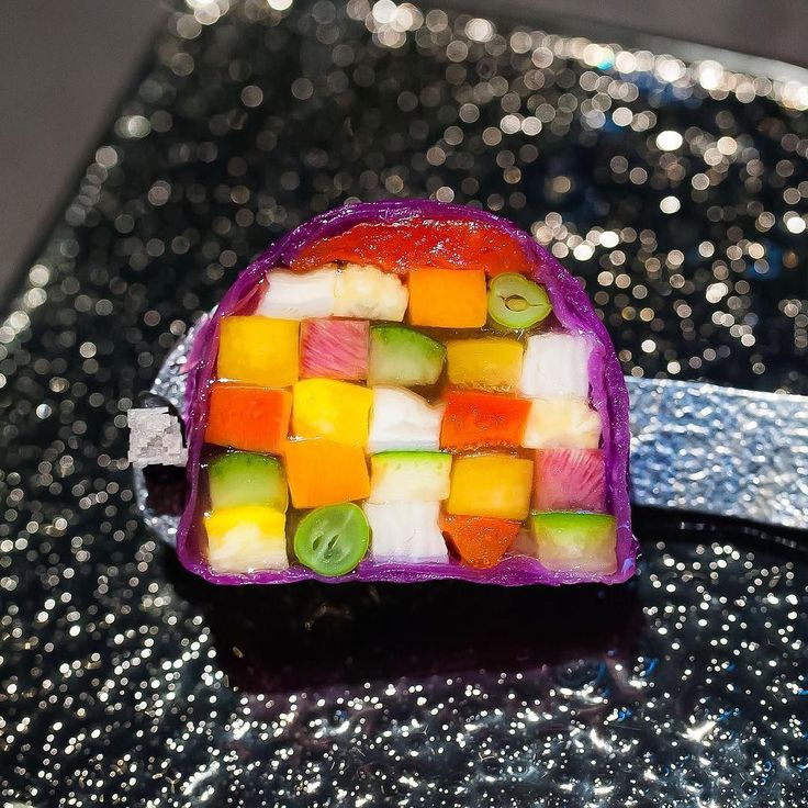 Ratatouille terrine- 15 vegetables bound together with a tomato water jelly. Knife skills perfect by lennardy