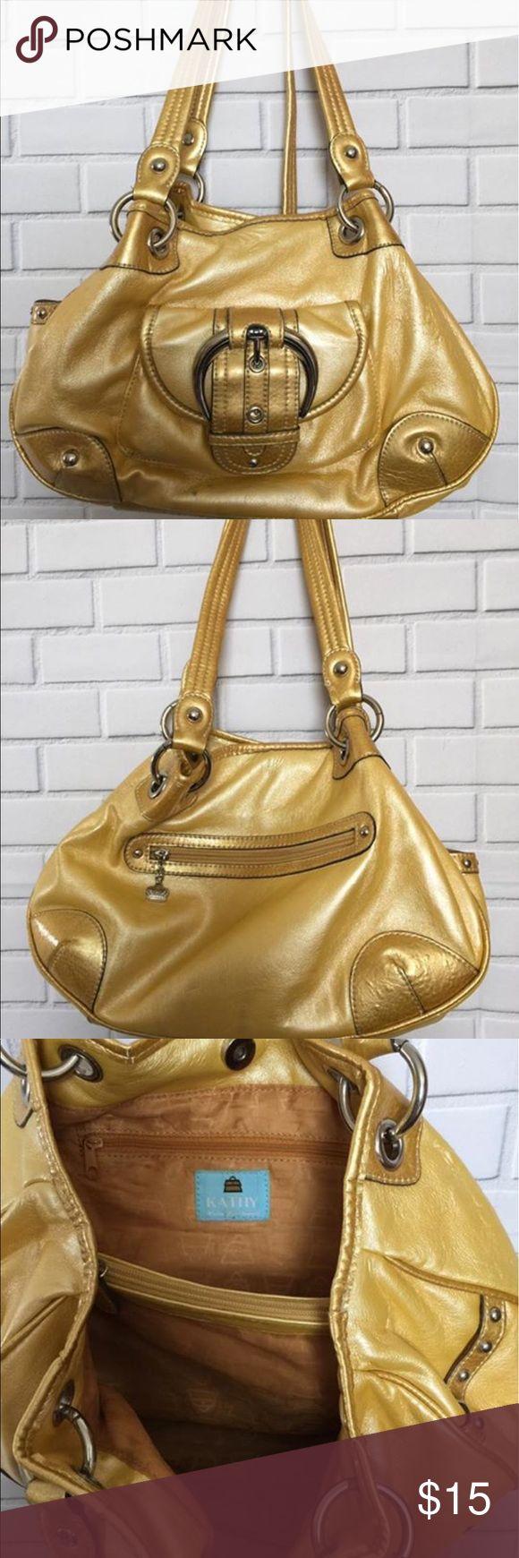 Kathy Van Zeeland hobo purse Golden yellow Kathy Van Zeeland hobo style purse. Has a few marks/ signs of use, as seen in photos. Still a great bag! Kathy Van Zeeland Bags Hobos