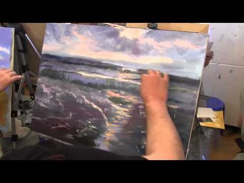 Пейзаж, пшеничное поле, уроки для новичков, масляная живопись , Сахаров - YouTube