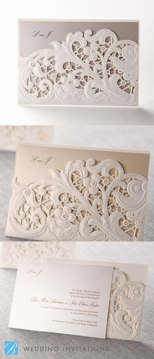 Laser Cut Floral Pocket Wedding Stationery By B Invitations